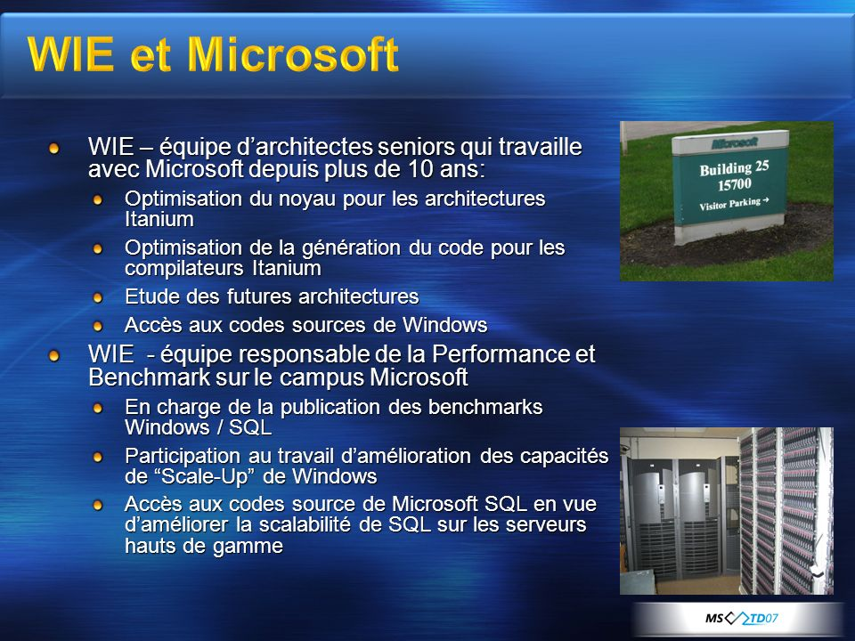 [Course Title] [Module Title] WIE et Microsoft. WIE – équipe d'architectes seniors qui travaille avec Microsoft depuis plus de 10 ans: